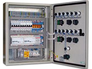 Металлический щиток с автоматами УЗО