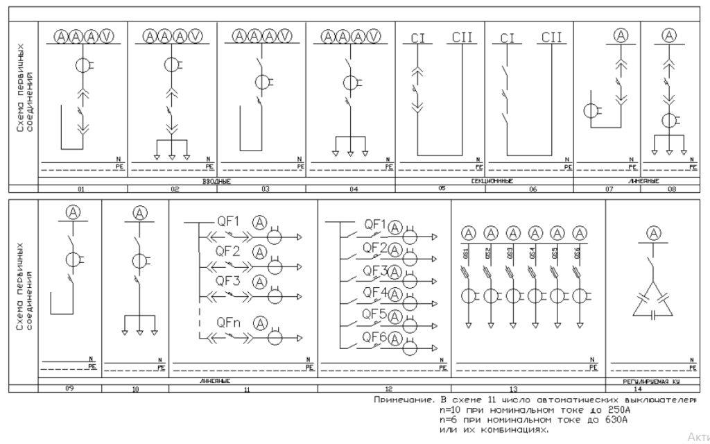 Схемы первичных соединений