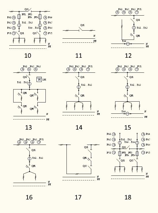 Электрические схемы панелей